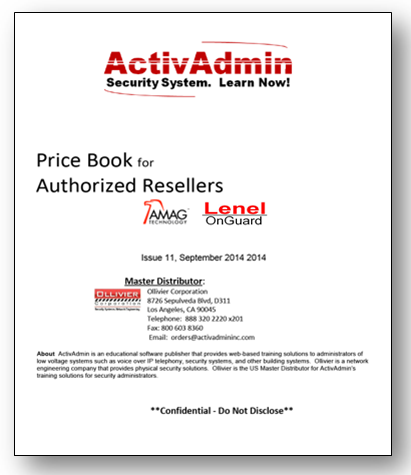 Our slim Price Book and a single-Page agreement represent the small administrative overhead for our reseller relationship.